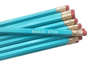 by Sweet Perversion. Listing for one Badass Bitch Pencil. Wood pencil with #2 lead, certified non-toxic, latex-free synthetic eraser and unsharpened. FOLD Gallery Dtla.