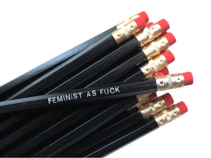 by Sweet Perversion. Listing for one Feminist As Fuck Pencil. Wood pencil with #2 lead, certified non-toxic, latex-free synthetic eraser and unsharpened.