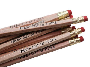 by Sweet Perversion Listing for one Fresh Out of Fucks Pencil. Wood pencil with #2 lead, certified non-toxic, latex-free synthetic erasers & unsharpened. Please note that due to everyone's monitor displaying differently, the colors you see may vary.