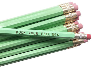 by Sweet Perversion. Listing for one F*ck Your Feelings Pencil. Wood pencil with #2 lead, certified non-toxic, latex-free synthetic erasers & unsharpened. Please note that due to everyone's monitor displaying differently, the colors you see may vary.