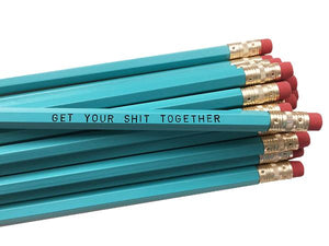 by Sweet Perversion. Listing for one Get Your Shit Together Pencil. Wood pencil with #2 lead, certified non-toxic, latex-free synthetic eraser. Unsharpened.
