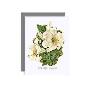 By Sylvan Gate Design. Lily Bouquet Sympathy Glitter Card. This natural white 100% PCW paper card has subtle glitter accents and is made entirely by hand in California. Card is blank inside and comes in a signature grey, square flap envelope. Measures 4.25 x 5.5 inches. Also available in store at FOLD Gallery DTLA.