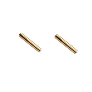 By TUMBLE. Bar Stud Earrings in 14k gold filled. All earring posts are sterling silver and comes with clear earring backs. Please note that due to everyone's monitor displaying differently, the colors you see may vary. Measures 1cm. FOLD Gallery Dtla.