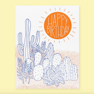 by The Good Twin. Desert Birthday Card details: Two color letterpress print on French Paper. Packed in a cello sleeve with corresponding envelope. Blank inside. Made in the USA. Size A2, 4.25 by 5.5 inches folded. Please note that due to everyone's monitor displaying differently, the colors you see may vary.