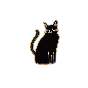 by The Good Twin. The Black Cat Pin is for the cat lover in all of us. Packed in a cello sleeve with pin fastened to card. Enamel pin comes with one rubber clutch. Measures 1 inch.