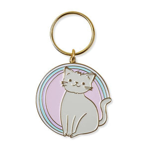 by The Good Twin. The cutest kitty for your keys. This iron enamel Kitty Keychain with gold plating is packed in a clear rigid box. Measures 2 inches. Also available in store at FOLD Gallery DTLA.