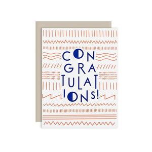 by The Good Twin. A classy way to offer congratulations! Modern Congrats Card: Two color screen print on French Paper. Packed in a cello sleeve with corresponding envelope. Envelope color may vary. Blank inside. Measures 4.25 by 5.5 inches folded. Also available in store at FOLD Gallery DTLA.