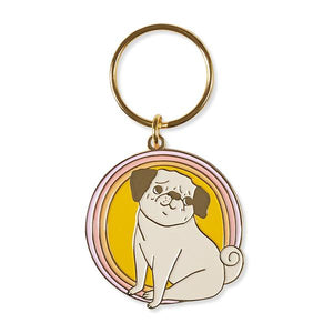 by The Good Twin. Peggy Keychain. This iron enamel keychain with gold plating is packed in a clear rigid box. Measures 2 inches. Also available in store at FOLD Gallery DTLA.