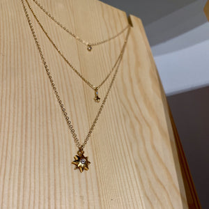 By Hari and Jin. The Hope Gold Filled Necklace features a dainty gold filled white cubic zirconia drop with 14k gold filled chain. Looks great on its own or as a layered piece. Necklace measures 16 inches plus 2 inch extender (18 inches total). Also available in store at FOLD Gallery DTLA.