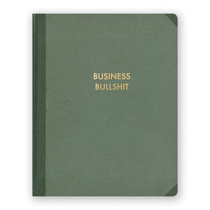 "By The Mincing Mockingbird & The Frantic Meerkat. Business Bullshit Journal features 128 alternating squared and lined pages of 120 gsm creamy off-white paper that takes ink beautifully. Binding lies flat when open. Measures 7.75"" tall x 9.75"" wide. Also available in store at FOLD Gallery in DTLA."