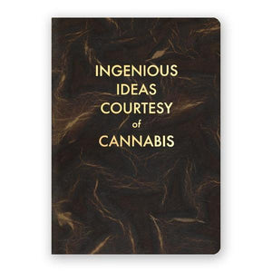 By The Mincing Mockingbird & The Frantic Meerkat. Ingenious Ideas Courtesy of Cannabis Journal: 120 light dotted grid pages of 120 gsm creamy off-white paper that takes ink beautifully. Binding lies flat when open. Measures 5 inch wide x 7 inch tall. Also available in store at FOLD Gallery DTLA.