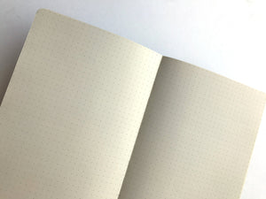 By The Mincing Mockingbird & The Frantic Meerkat. Psychiatric Evaluations of My Dog Journal.120 dotted pages of 120 gsm creamy off-white paper that takes ink beautifully. Stylish gold foil stamped cover. Binding lies flat when open. Please note that due to everyone's monitor displaying differently, the colors you see may vary. Measures 5 inch x 7 inch—perfect size for a purse or for traveling.