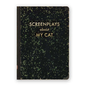 By The Mincing Mockingbird & The Frantic Meerkat. Screenplays About My Cat Journal. 120 lined pages of 120 gsm creamy off-white paper that takes ink beautifully. Binding lies flat when open. Measures 5 inch wide x 7 inch tall. Also available in store at FOLD Gallery DTLA.