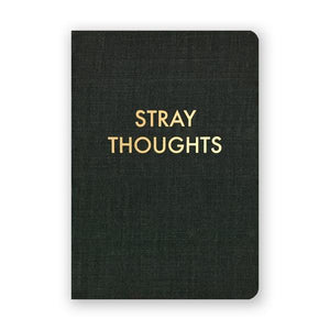 By The Mincing Mockingbird & The Frantic Meerkat. Stray Thoughts Journal. 80 blank pages of 120 gsm creamy off-white paper that takes ink beautifully. Binding lies flat when open. Measures 3.75 inch wide x 5.375 inch tall — perfect size for a pocket. Also available in store at FOLD Gallery DTLA.