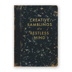 By The Mincing Mockingbird & The Frantic Meerkat. The Creative Ramblings of a Restless Mind Journal. 120 blank pages of 120 gsm creamy off-white paper that takes ink beautifully. Binding lies flat when open. Measures 5 inch wide x 7 inch tall. Also available in store at FOLD Gallery DTLA.