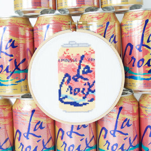 By The Stranded Stitch. Stitch up this refreshing can of Pamplemousse La Croix! The trendiest sparkling water turned into the cross stitch project. Kit Includes: Basic cross stitching instructions. Counted cross stitch pattern. DMC embroidery floss and color chart. 14 count aida cloth. 5 inch Embroidery hoop. Needle. FOLD Gallery Dtla.