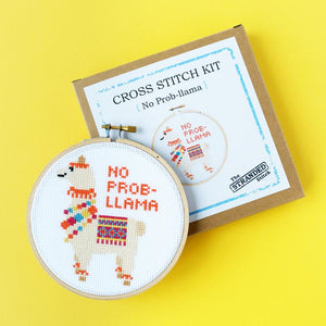 By The Stranded Stitch. No Prob-llama DIY Cross Stitch Kit Includes: Basic cross stitching instructions. Counted cross stitch pattern. DMC embroidery floss and color chart. 14 count white aida cloth. 5 inch Embroidery hoop. Needle. FOLD Gallery Dtla.