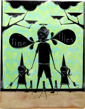 Time flies, 2020  Original Mixed Media Artwork by Walt Hall  Measures 14 x 11 x 1 inches.   Medium: Acrylic Paint & Mixed Media on Found Wood