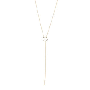 By TUMBLE. Gold Filled Hexagon Lariat Necklace: This is a 16-inch lariat necklace with a 6 inch drop. All together to form a very graphic and minimalist design. Made with gold-filled chain. Also available in store at FOLD Gallery DTLA.
