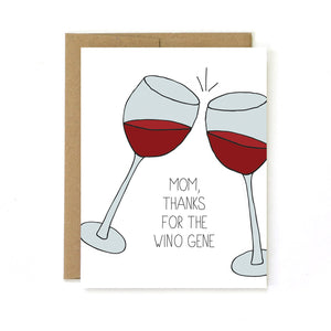 By Unblushing. Cheers! Wino Gene Card details: 5.5 x 4.25 (A2) folded card. A2 100% recycled kraft envelope. Professionally printed on 130# recycled card stock. Packaged in a compostable clear sleeve. Blank inside for your own personal message.