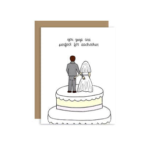 By Unblushing by Julie Ann Art. You two freaks are perfect for each other! Butt Touching Cake Toppers Card features 100% recycled kraft envelope. Professionally printed on 110# recycled card stock. Packaged in a compostable clear sleeve. Blank inside. Also available in store at FOLD Gallery in DTLA.