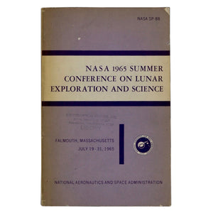 Vintage 1965 NASA Summer Conference on Lunar Exploration and Science  This 421 page book contains papers presented at the NASA Summer Conference on Lunar Exploration and Science from July 19-31, 1965. Topics include Geophysics, Bioscience, Lunar Atmospheres, and more!  Measures 9 x 6 x 1 inches