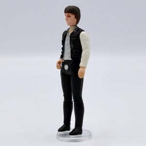 Vintage 1977 Han Solo Figurine Vintage Han Solo figurine, missing blaster. It has moveable arms and legs! Measures 4 x 1.5 x .5 inches. Condition: Good condition, some worn pain, discoloration on neck (doesn't match head color).
