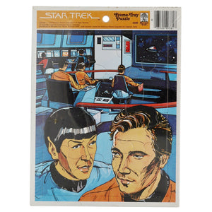 "Vintage 1978 Star Trek Puzzles ""Captain, that is highly illogical...""  12 piece puzzle. Sealed in Original Packages.  This puzzle depicts Spock and Kirk conferring on the bridge of the Enterprise.  Measures 11 x 8.25 inches."