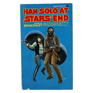 Vintage 1979 Han Solo At Star's End  This Han Solo novella follows Han and Chewbacca as they seek to upgrade the Millenium Falcon, and wind up pitted against powerful and ruthless enemies bent on their destruction!  Measures 7 x 4.25 x .5 inches.  Condition: Good condition, minor shelf wear.