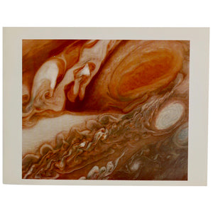 Vintage 1979 NASA Voyager Mission Photograph with mission notes.  This photo of Jupiter was taken by Voyager 1 on March 1, 1979 and closely depicts Jupiter's Great Red Spot.  Measures 11 x 8.5 inches  Please note that due to everyone's monitor displaying differently, the colors you see may vary.