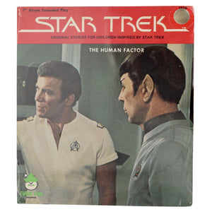 "Vintage 1979 Star Trek Records ""The Human Factor #1516""  Sealed in original packaging.  7"" record, 45rpm extended play, original stories for children inspired by Star Trek.  Measures 8 x 7 inches."