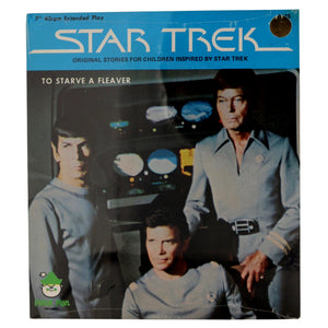 "Vintage 1979 Star Trek Records ""To Starve a Fleaver #1515""  Sealed in original packaging.  7"" record, 45rpm extended play, original stories for children inspired by Star Trek.  Measures 8 x 7 inches."