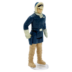 Vintage 1980 Han Solo Hoth Figurine  Vintage Han Solo figurine, looks to be missing weapon.  Measures 4 x 1.75 x .75 inches.  Condition: In good condition, some worn paint, looks like there could be a weapon in his holster or hand. Missing the weapon.