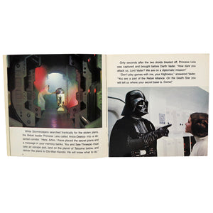 Vintage 1980 Star Wars Story Book and Record  This 24 page book with read along record features stills from Star Wars Episode 4, dramatic character dialogue, and authentic sound effects!  Measures 7.25 x 7.25 inches.