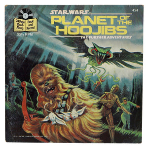 Vintage 1983 Star Wars - Planet of the Hoojibs Book and Record  This 24 page book with read along record features full-color illustrations, dramatic character dialogue, and authentic sound effects!  Measures 7.25 x 7.25 inches.