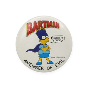 Vintage 1989 The Simpsons Pinback Button.  Add a little flair to your jacket, backpack or tote with this Vintage Bartman Pinback Button!  Measures 2 inches.  Please note that due to everyone's monitor displaying differently, the colors you see may vary.