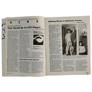 "Vintage 1990 Vol. 5, No. 1 UFO magazine. Includes articles titled ""Just Glasnost? Or UFO Fact?"", ""'Silent' Chopper Under Army Wing"", ""Russian Captivated by Ufology"", and many more!  Measures 11 x 8.5 inches"