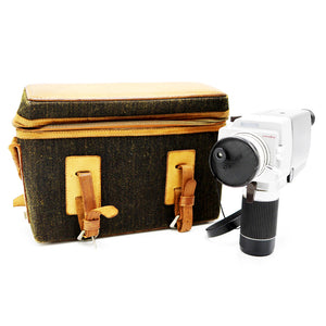 Vintage Minolta Autopak-8 K7 Super 8 Movie Camera with amazing Twead & Leather Case. Camera is in working condition. Camera measures: 7 x 3.25 x 8.5 inches ; Case: 7.75 x 12 x 4 inches. Please note that due to everyone's monitor displaying differently, the colors you see may vary.