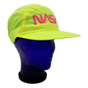 Vintage neon yellow NASA hat with neon pink lettering. This hat has an elastic back, and therefor limited adjustability. Very minor discoloration on sweat band. Measures 4.75 x 8.5 x 10.25 inches inches. Please note that due to everyone's monitor displaying differently, the colors you see may vary.