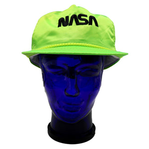 Vintage satin neon green NASA hat with black lettering and adjustable snap back. Very minor discoloration on sweatband. Measures 4.75 x 9.5 x 10 inches
