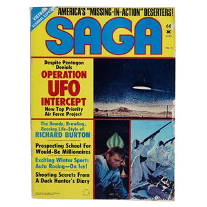 "Vintage February 1974 Saga magazine. Includes articles titled ""Despite Pentagon Denials Operation UFO Intercept Now Top Priority Air Force Project"", ""The Bawdy, Brawling, Boozing Life-Style of Richard Burton"", ""Shooting Secrets From a Duck Hunter's Diary"" and many more!  Measures 11 x 8.25 inches  Please note that due to everyone's monitor displaying differently, the colors you see may vary."