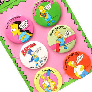 Vintage 1990 set of 6 New/Old Stock Simpsons Button set in Original Packaging!  Measures 7.5 x 5 x.5 inches.  Please note that due to everyone's monitor displaying differently, the colors you see may vary.