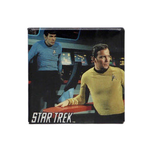 Vintage Captain's Deck Pinback Button  Add a little flair to your jacket, backpack or tote with this Vintage Captain's Deck Pinback Button! This button depicts Captain Kirk and Spock on the bridge of the S.S. Enterprise.  Measures 1.5 x 1.5 inches.
