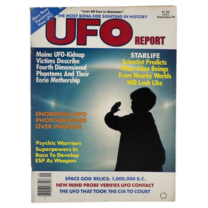 "Vintage September 1978 UFO Report. Includes articles titled ""Maine UFO-Kidnap Victims Describe Fourth Dimensional Phantoms and Their Eerie Mothership"", ""Enormous UFO Photographed over Phoenix"", ""Space God Relics: 1,000,000 B.C."" And many more! Measures 11 x 8.25 inches."