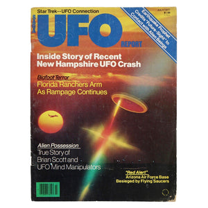 "Vintage July 1977 UFO Report. Includes articles titled ""Saucer Central, U.S.A."", ""Saucers and Celebrities"", ""The UFO-StarTrek Connection"", and many more! Measures 11 x 8.25 inches"