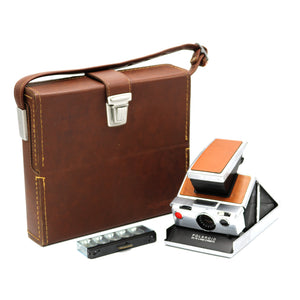 Vintage Polaroid SX-70 Brown Leather Folding Land Instant Camera