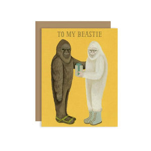 By Yeppie Paper. Beastie Card. Professionally printed in full color in Los Angeles. FSC-certified, recycled 110 lb. cover weight, soft white paper. Matching recycled kraft envelope. Blank inside with single color logo on back. Card and envelope packaged in a clear cello sleeve. Measures 4.25 x 5.5 inches.