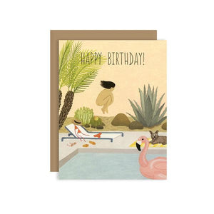 By Yeppie Paper. The Birthday Suit Card is professionally printed in full color in Los Angeles, FSC-certified, recycled 110 lb. cover weight, soft white paper and matching recycled kraft envelope. Blank inside with single color logo on back. Card and envelope packaged in a clear cello sleeve. Measures 4.25x5.5 inches.