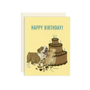 By Yeppie Paper. Bulldog Cake Birthday Card features: Professionally printed in full color in Los Angeles. FSC-certified, recycled 110 lb. cover weight, soft white paper. Matching recycled soft white envelope. Blank inside with single color logo on back. Card and envelope packaged in a clear cello sleeve. 4.25 x 5.5 inches. Also available in store at FOLD Gallery in DTLA.