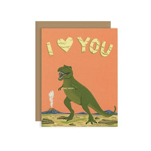 By Yeppie Paper. T-Rex This Much Love Card. Professionally printed in full color in Los Angeles. FSC-certified, recycled 110 lb. cover weight, soft white paper. Matching recycled kraft envelope. Blank inside with single color logo on back. Card and envelope packaged in a clear cello sleeve. Measures 4.25 x 5.5 inches. Also available in store at FOLD Gallery DTLA.